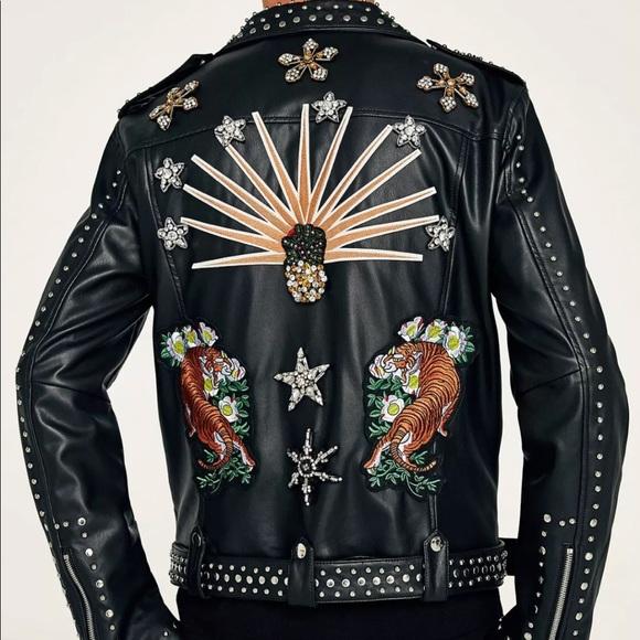 Nwt Zara Studded Bejeweled Faux Leather Jacket Poshmark